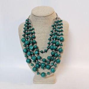 Chico's Variegated Turquoise Beaded Necklace